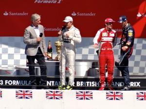 Formula 1 podium at Silverstone circuit, England